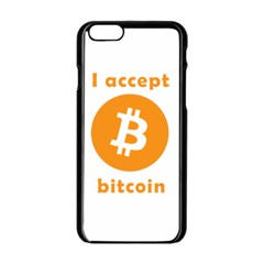 I Accept Bitcoin Apple Iphone 6/6s Black Enamel Case by Valentinaart