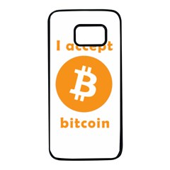 I Accept Bitcoin Samsung Galaxy S7 Black Seamless Case by Valentinaart