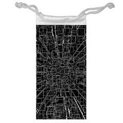 Black Abstract Structure Pattern Jewelry Bag