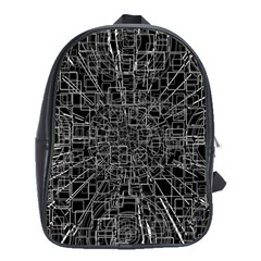 Black Abstract Structure Pattern School Bag (large) by BangZart