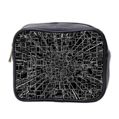 Black Abstract Structure Pattern Mini Toiletries Bag 2 Side