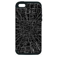 Black Abstract Structure Pattern Apple Iphone 5 Hardshell Case (pc+silicone)