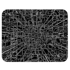 Black Abstract Structure Pattern Double Sided Flano Blanket (medium)