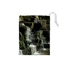 Water Waterfall Nature Splash Flow Drawstring Pouches (small)