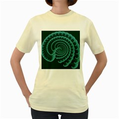 Fractals Form Pattern Abstract Women s Yellow T Shirt