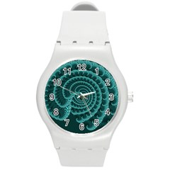 Fractals Form Pattern Abstract Round Plastic Sport Watch (m)