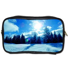Ski Holidays Landscape Blue Toiletries Bags