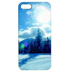 Ski Holidays Landscape Blue Apple Iphone 5 Hardshell Case With Stand by BangZart
