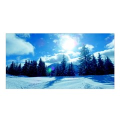 Ski Holidays Landscape Blue Satin Shawl