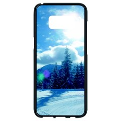 Ski Holidays Landscape Blue Samsung Galaxy S8 Black Seamless Case by BangZart