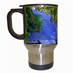 Landscape Blue Shed Scenery Wood Travel Mugs (white) by BangZart