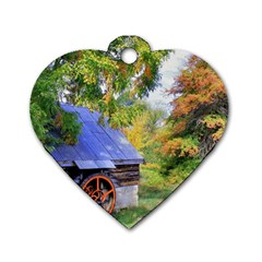 Landscape Blue Shed Scenery Wood Dog Tag Heart (two Sides) by BangZart