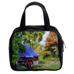 Landscape Blue Shed Scenery Wood Classic Handbags (2 Sides) by BangZart