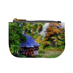 Landscape Blue Shed Scenery Wood Mini Coin Purses