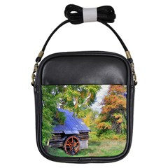 Landscape Blue Shed Scenery Wood Girls Sling Bags