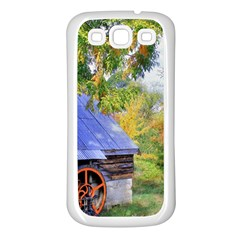 Landscape Blue Shed Scenery Wood Samsung Galaxy S3 Back Case (white) by BangZart