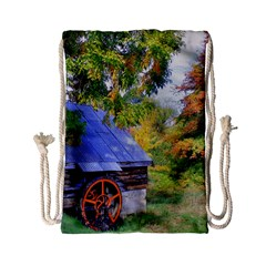 Landscape Blue Shed Scenery Wood Drawstring Bag (small)