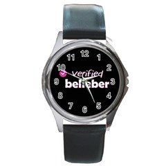 Verified Belieber Round Metal Watch by Valentinaart