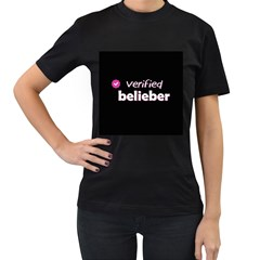 Verified Belieber Women s T-shirt (black) (two Sided) by Valentinaart