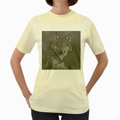 Wolf Forest Animals Women s Yellow T Shirt