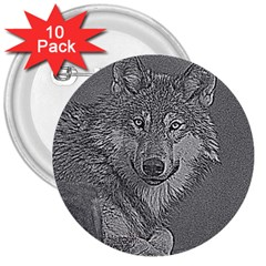 Wolf Forest Animals 3  Buttons (10 Pack)  by BangZart