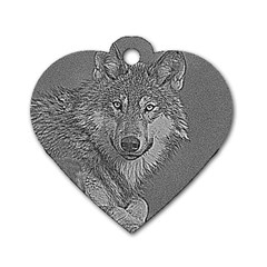 Wolf Forest Animals Dog Tag Heart (two Sides) by BangZart