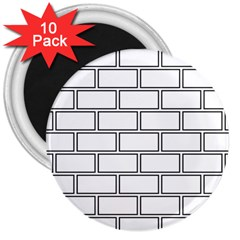 Wall Pattern Rectangle Brick 3  Magnets (10 Pack)  by BangZart