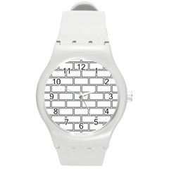 Wall Pattern Rectangle Brick Round Plastic Sport Watch (m) by BangZart
