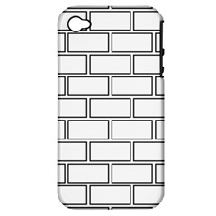 Wall Pattern Rectangle Brick Apple Iphone 4/4s Hardshell Case (pc+silicone)