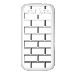 Wall Pattern Rectangle Brick Samsung Galaxy S3 Back Case (white)