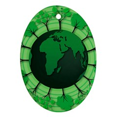 Earth Forest Forestry Lush Green Ornament (oval) by BangZart