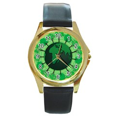Earth Forest Forestry Lush Green Round Gold Metal Watch