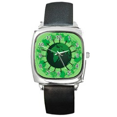 Earth Forest Forestry Lush Green Square Metal Watch