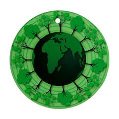 Earth Forest Forestry Lush Green Round Ornament (two Sides)