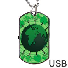 Earth Forest Forestry Lush Green Dog Tag Usb Flash (one Side)