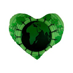 Earth Forest Forestry Lush Green Standard 16  Premium Heart Shape Cushions