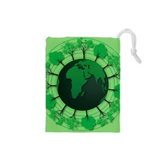 Earth Forest Forestry Lush Green Drawstring Pouches (small)