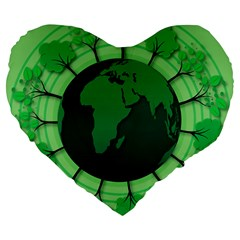 Earth Forest Forestry Lush Green Large 19  Premium Flano Heart Shape Cushions