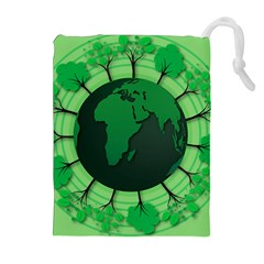 Earth Forest Forestry Lush Green Drawstring Pouches (extra Large) by BangZart