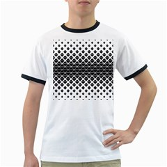 Triangle Pattern Background Ringer T Shirts