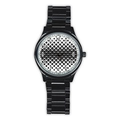 Triangle Pattern Background Stainless Steel Round Watch