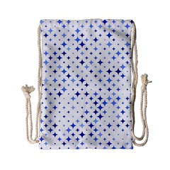 Star Curved Background Blue Drawstring Bag (small)