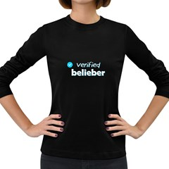 Verified Belieber Women s Long Sleeve Dark T Shirts by Valentinaart