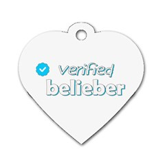 Verified Belieber Dog Tag Heart (one Side) by Valentinaart