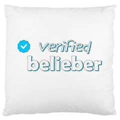 Verified Belieber Large Cushion Case (one Side) by Valentinaart