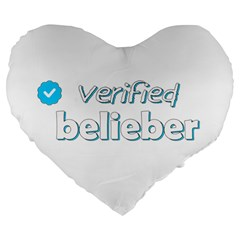 Verified Belieber Large 19  Premium Heart Shape Cushions by Valentinaart