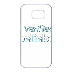 Verified Belieber Samsung Galaxy S7 Edge White Seamless Case by Valentinaart