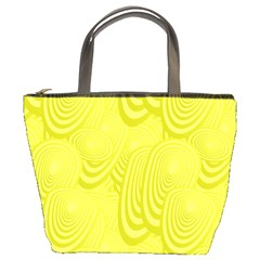 Yellow Oval Ellipse Egg Elliptical Bucket Bags by BangZart