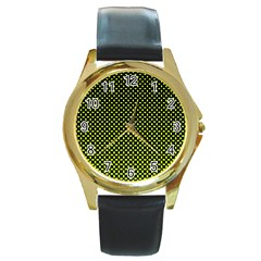 Pattern Halftone Background Dot Round Gold Metal Watch by BangZart
