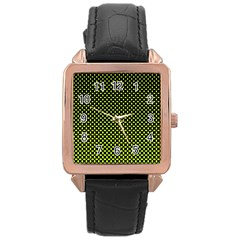 Pattern Halftone Background Dot Rose Gold Leather Watch  by BangZart